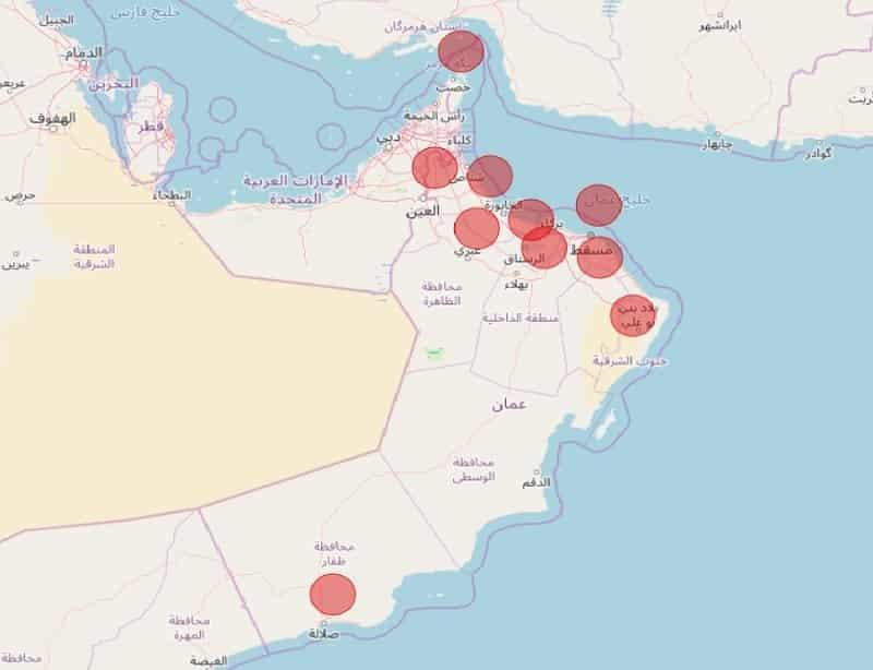 تفاصيل إصابات فيروس كورونا في سلطنة عمان وفقاً للمحافظات - تقني نت عمان